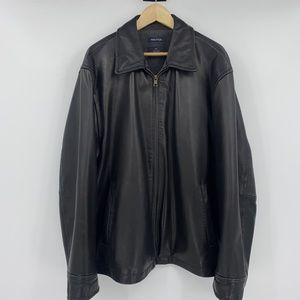Nautica Vintage GENUINE LEATHER Fleece Lined Coat